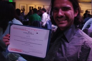 VSE student Hugo Jales with the IAAE Award Certificate for Best Student Paper