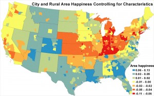 A map of the U.S. which shows each metropolitan and rural area's adjusted life satisfaction.