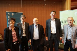 The Inequality Story panelists: Nobel Laureate Joseph Stiglitz (centre), with VSE Professors (from left) Nicole Fortin, VSE Director Thomas Lemieux, David Green, and Craig Riddell.
